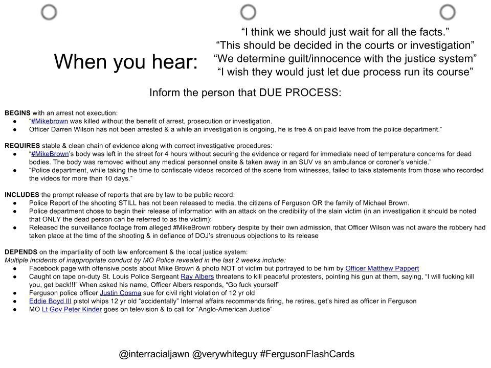 Ferguson Flashcards: Wait for due process