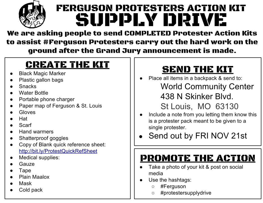 Ferguson Protestor Action Kit Supply Drive