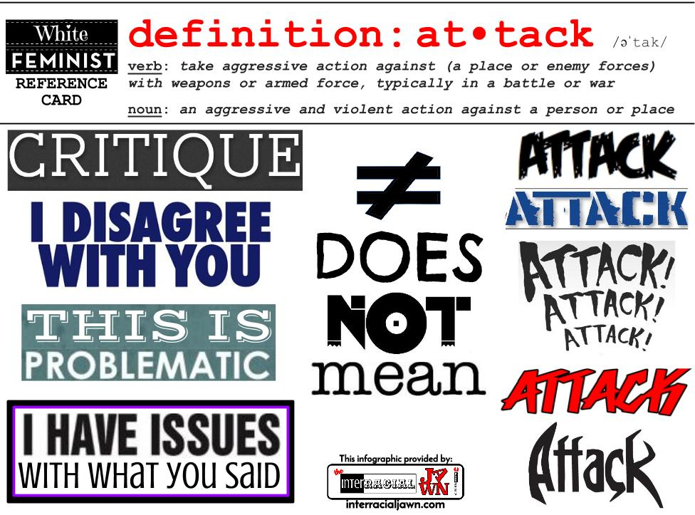 White Feminist Reference Card - Definition of Attack